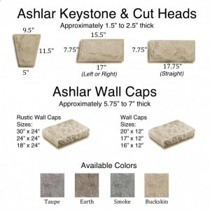 Ashlar Keystones, Cut Heads & Wall Caps